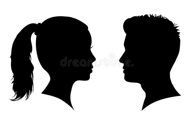 Siluetta del fronte della donna e dell'uomo € faccia a faccia «per le azione illustrazione di stock