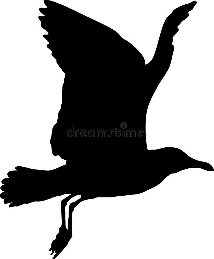 Siluetta del gabbiano in volo royalty illustrazione gratis