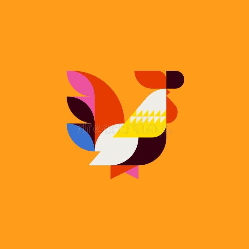 Siluetta del gallo sveglio di stile della rappezzatura Gallo piano di vettore royalty illustrazione gratis