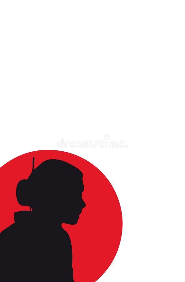 Siluetta del geisha (vettore) royalty illustrazione gratis