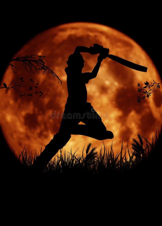 Siluetta del giocatore del cricket, battitore con il MOO arancio royalty illustrazione gratis