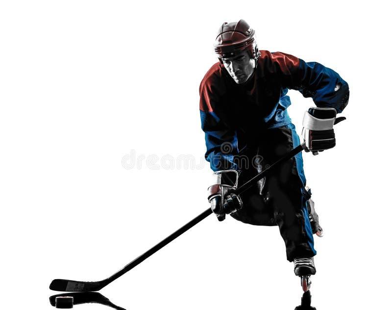 Siluetta del giocatore dell'uomo dell'hockey immagini stock