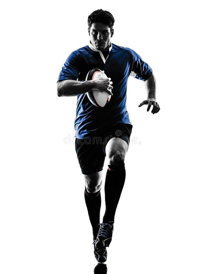 Siluetta del giocatore dell'uomo di rugby immagine stock
