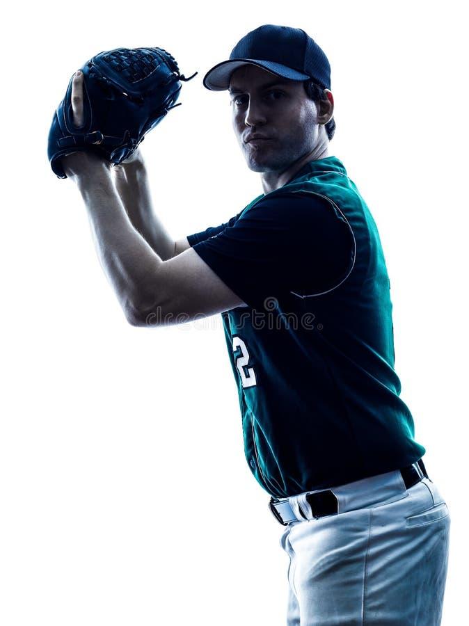 Siluetta del giocatore di baseball dell'uomo isolata fotografie stock