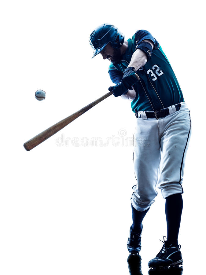 Siluetta del giocatore di baseball dell'uomo isolata fotografie stock libere da diritti