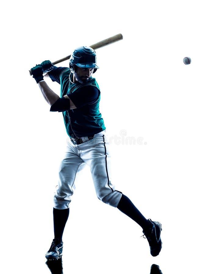 Siluetta del giocatore di baseball dell'uomo isolata fotografia stock
