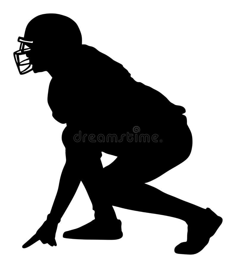 Siluetta del giocatore di football americano illustrazione di stock