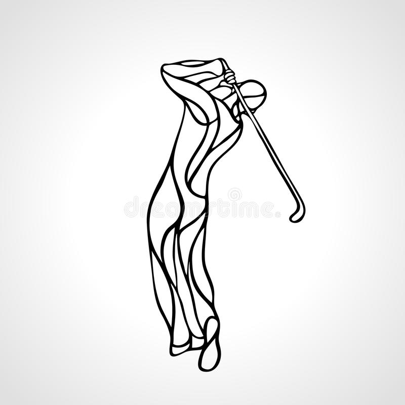 Siluetta del giocatore di golf Vettore EPS8 illustrazione di stock