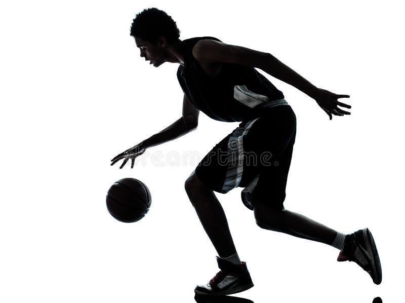 Siluetta del giocatore di pallacanestro fotografie stock