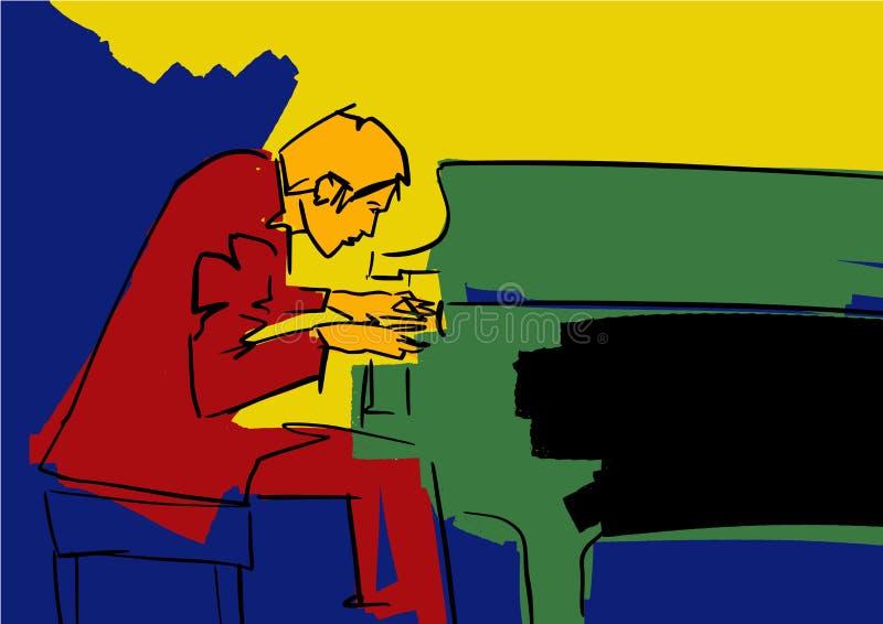 Siluetta del giocatore e del cantante di sassofono illustrazione di stock