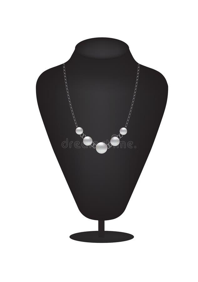 Siluetta del manichino con la collana della perla illustrazione vettoriale