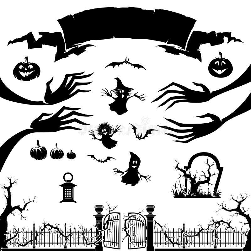 Siluetta del mostro, zucca, fantasma royalty illustrazione gratis
