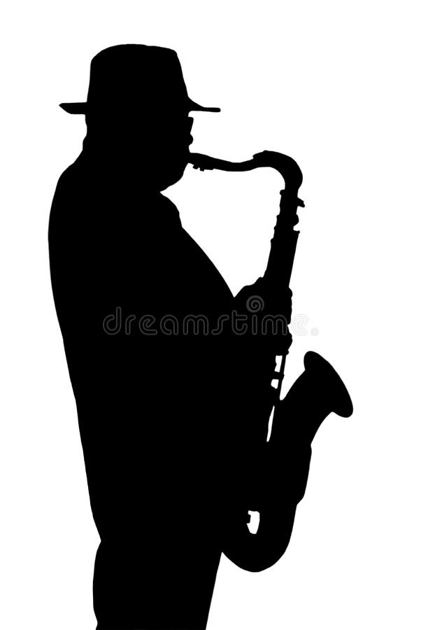 Siluetta del musicista che gioca su un sassofono. immagini stock