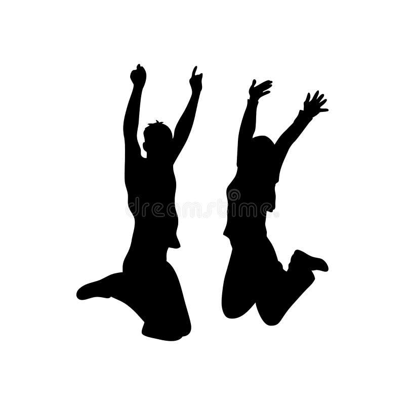 Siluetta del nero dell'icona delle coppie di salto su fondo bianco illustrazione di stock