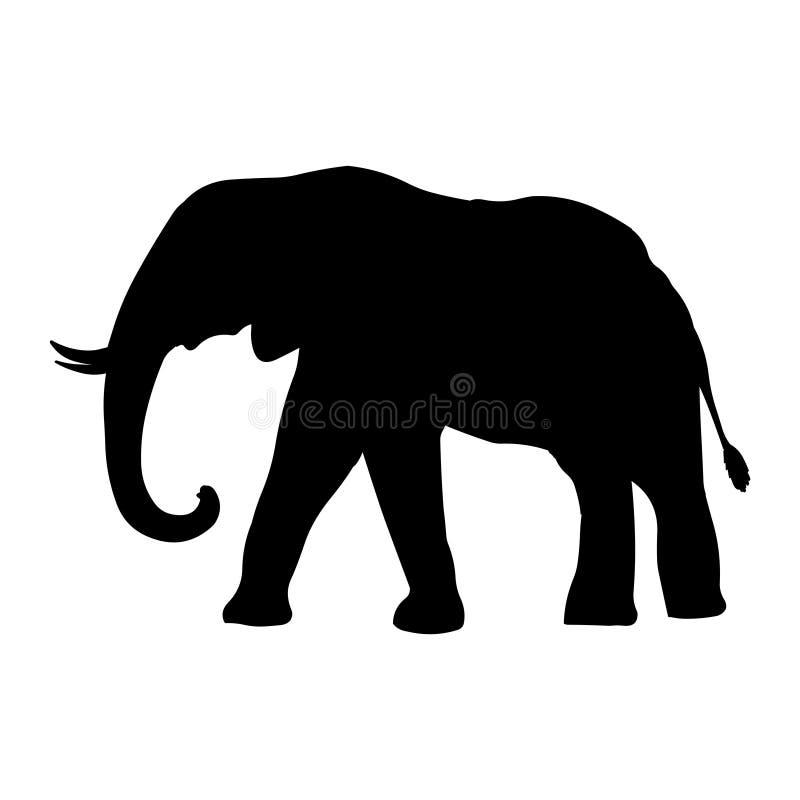 Siluetta del nero dell'illustrazione di vettore dell'elefante illustrazione vettoriale