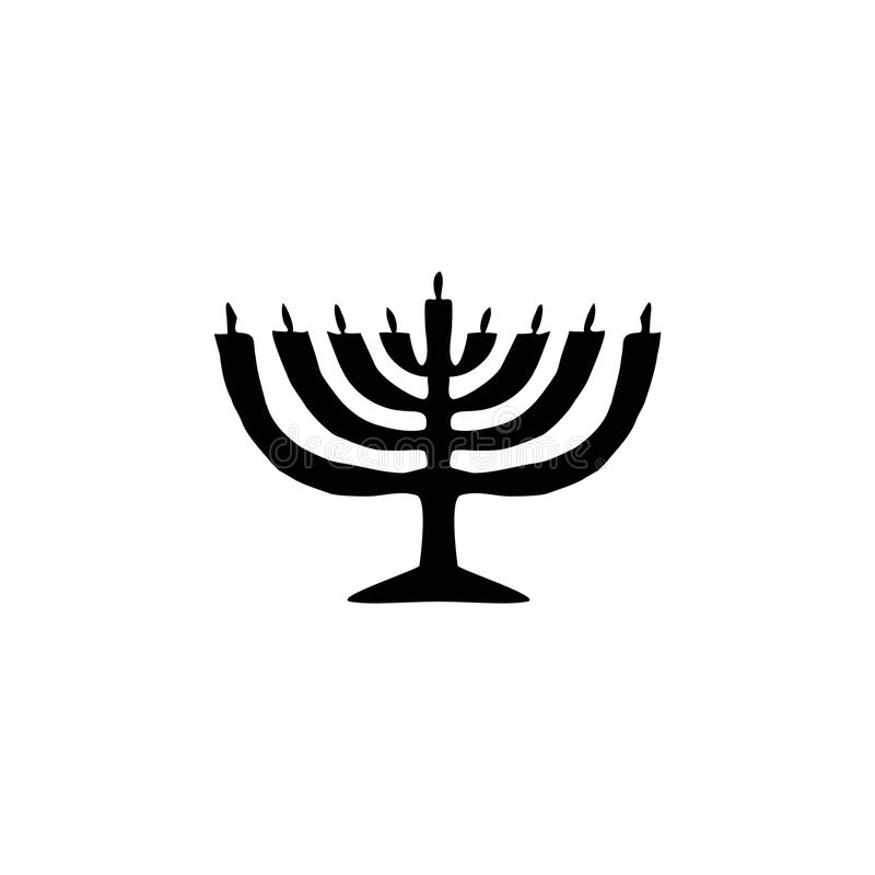 Siluetta del nero della candela di hanukkah Festa religiosa ebrea di Chanukah Illustrazione di vettore su fondo isolato royalty illustrazione gratis