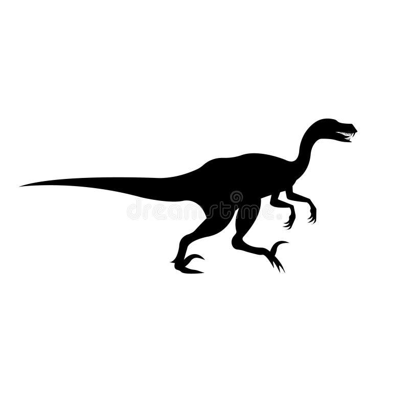 Siluetta del nero di vettore del dinosauro del velociraptor royalty illustrazione gratis