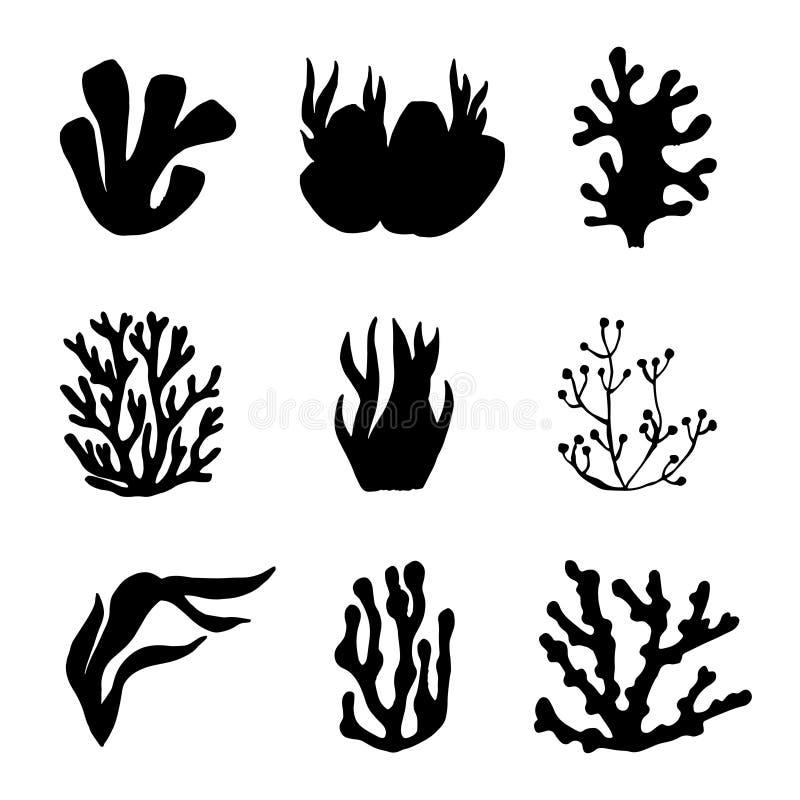 Siluetta del nero del mare dell'alga Insieme di vettore isolato royalty illustrazione gratis