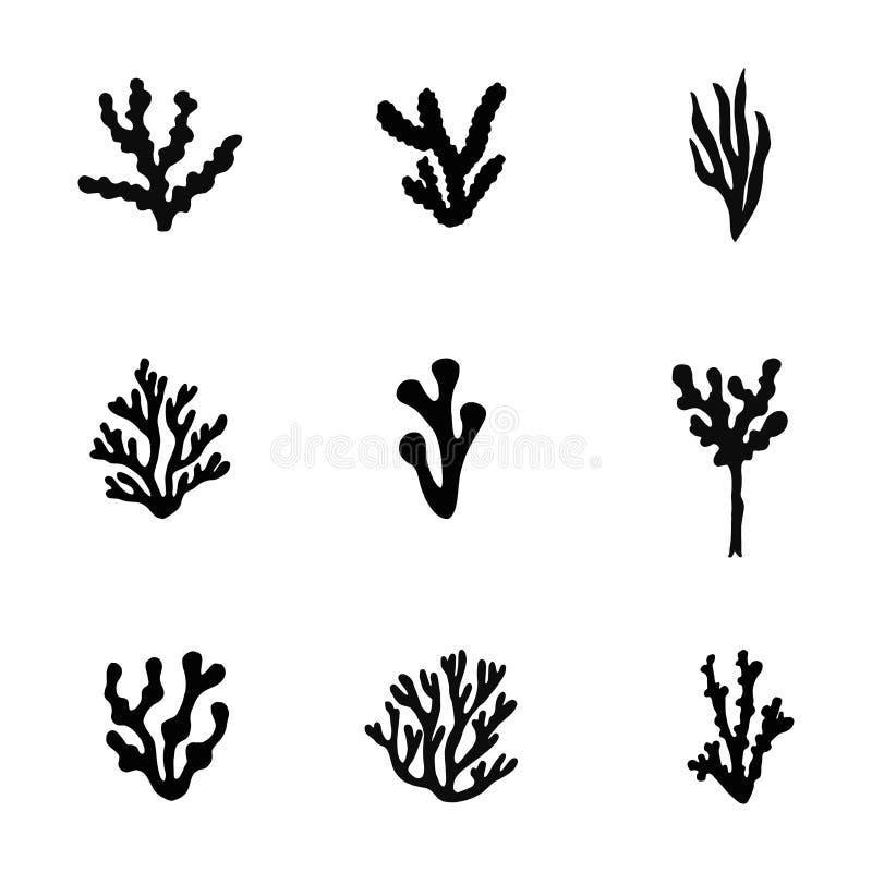 Siluetta del nero del mare dell'alga Insieme di vettore isolato illustrazione di stock