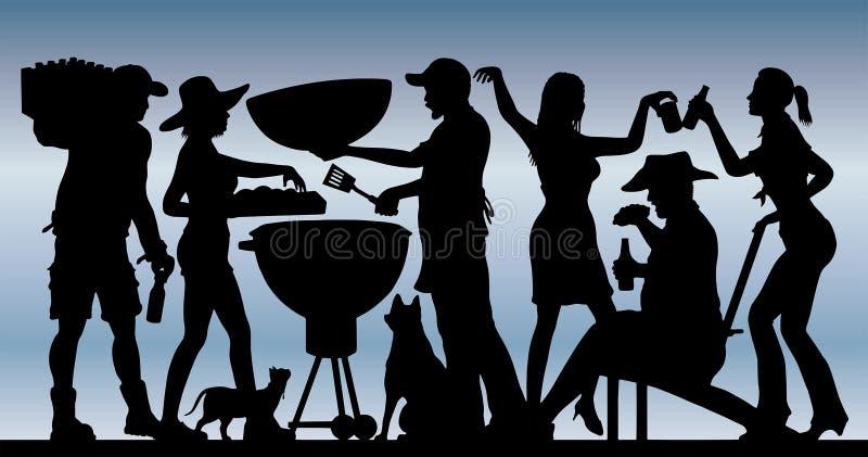 Siluetta del partito del BBQ di Memorial Day davanti a cielo blu illustrazione di stock