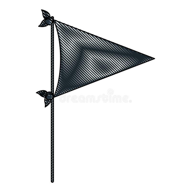 Siluetta del pastello del partito decorativo della bandiera di colore nero per la celebrazione royalty illustrazione gratis