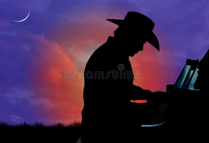 Siluetta del pianista del cowboy fotografie stock libere da diritti
