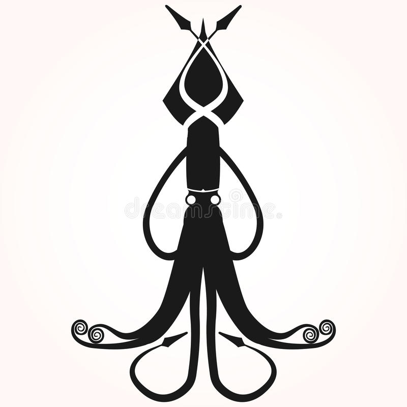 Siluetta del polipo, siluetta del calamaro, logolabel dei frutti di mare fotografia stock libera da diritti
