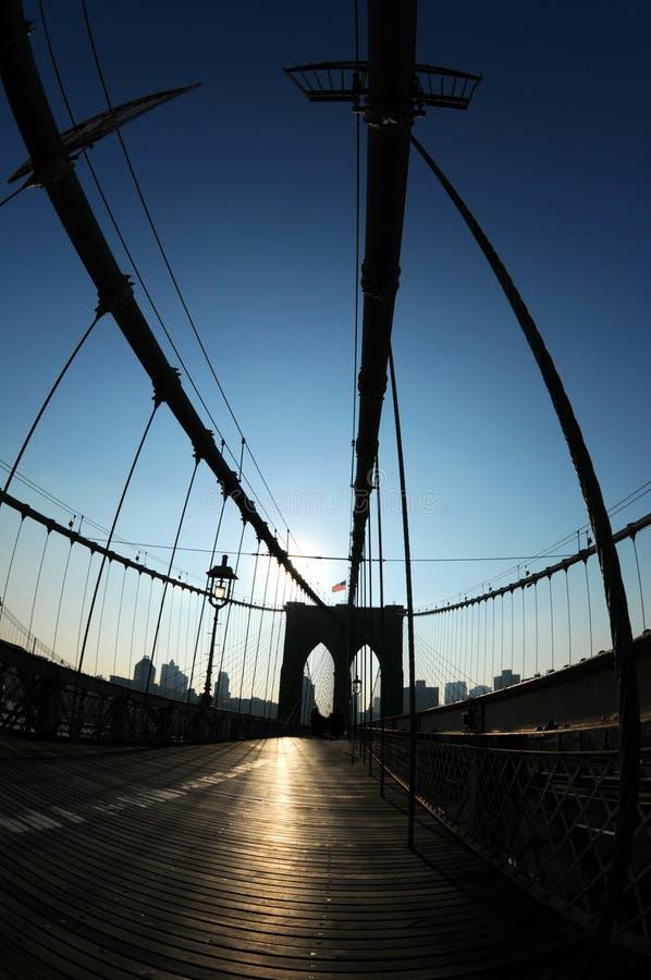 Siluetta del ponte di Brooklyn fotografie stock