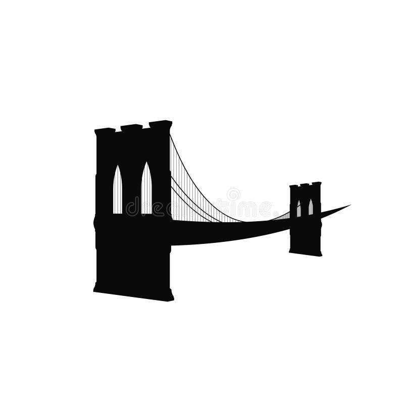 Siluetta del ponte di Brooklyn Icona nera del ponte di Brooklyn isolata su fondo bianco Simbolo di New York illustrazione di stock