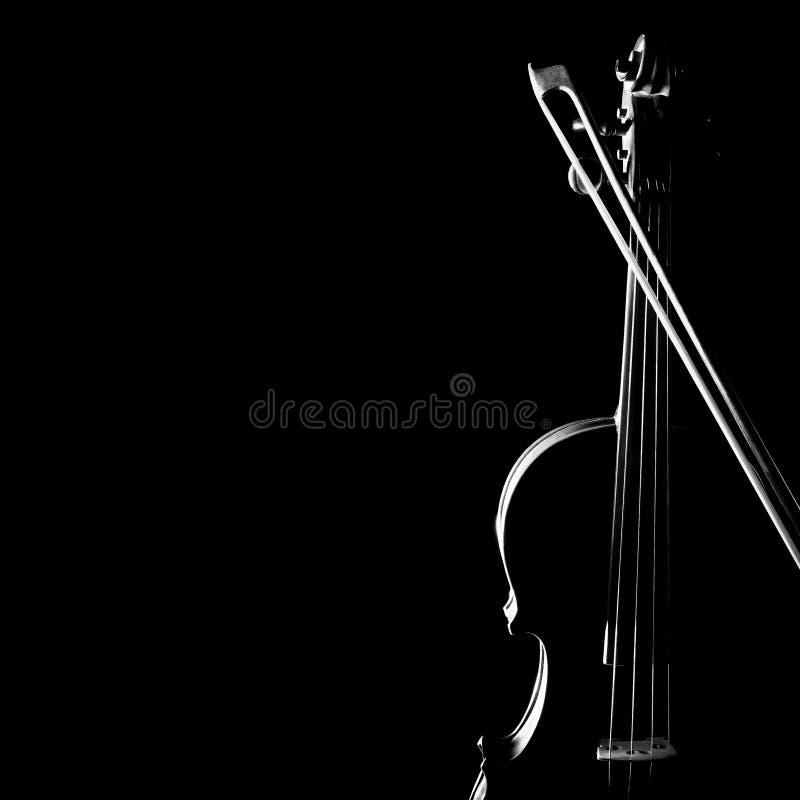 Siluetta del primo piano del violino fotografie stock libere da diritti