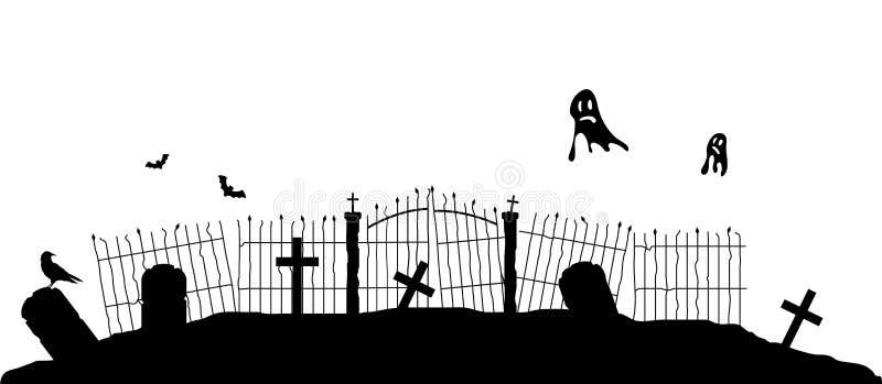 Siluetta del recinto del cimitero con i fantasmi di volo royalty illustrazione gratis
