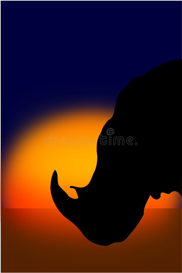 Download Siluetta Del Rinoceronte Al Tramonto Illustrazione Vettoriale - Illustrazione di isolato, africano: 7322787