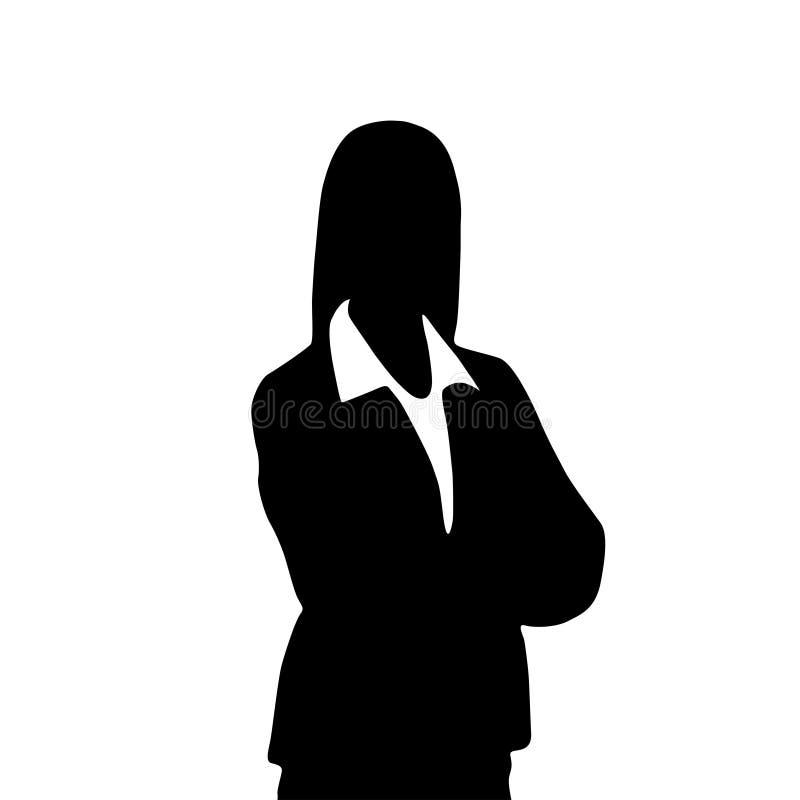 Siluetta del ritratto della donna di affari, icona femminile royalty illustrazione gratis