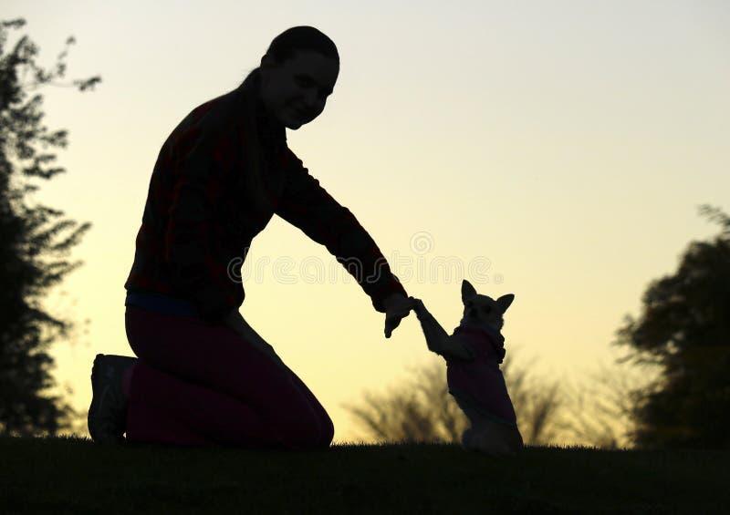 Siluetta del ` s del cane e della donna fotografia stock libera da diritti
