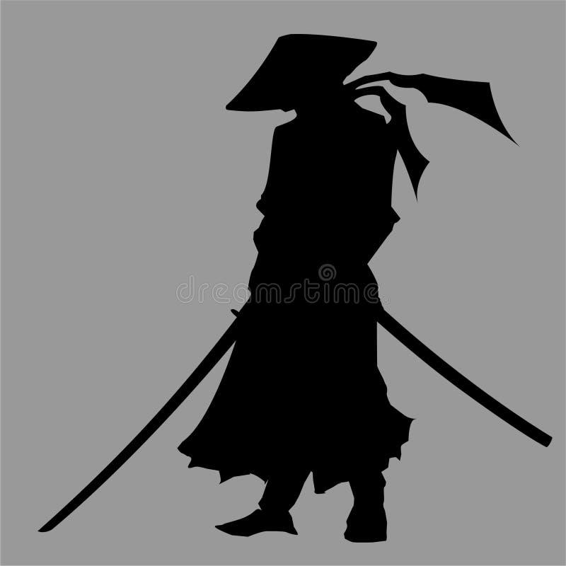 Siluetta del samurai illustrazione di stock