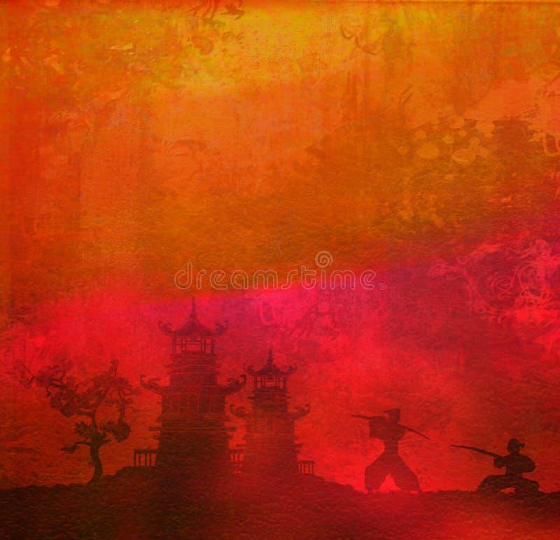 Siluetta del samurai nel paesaggio asiatico illustrazione di stock