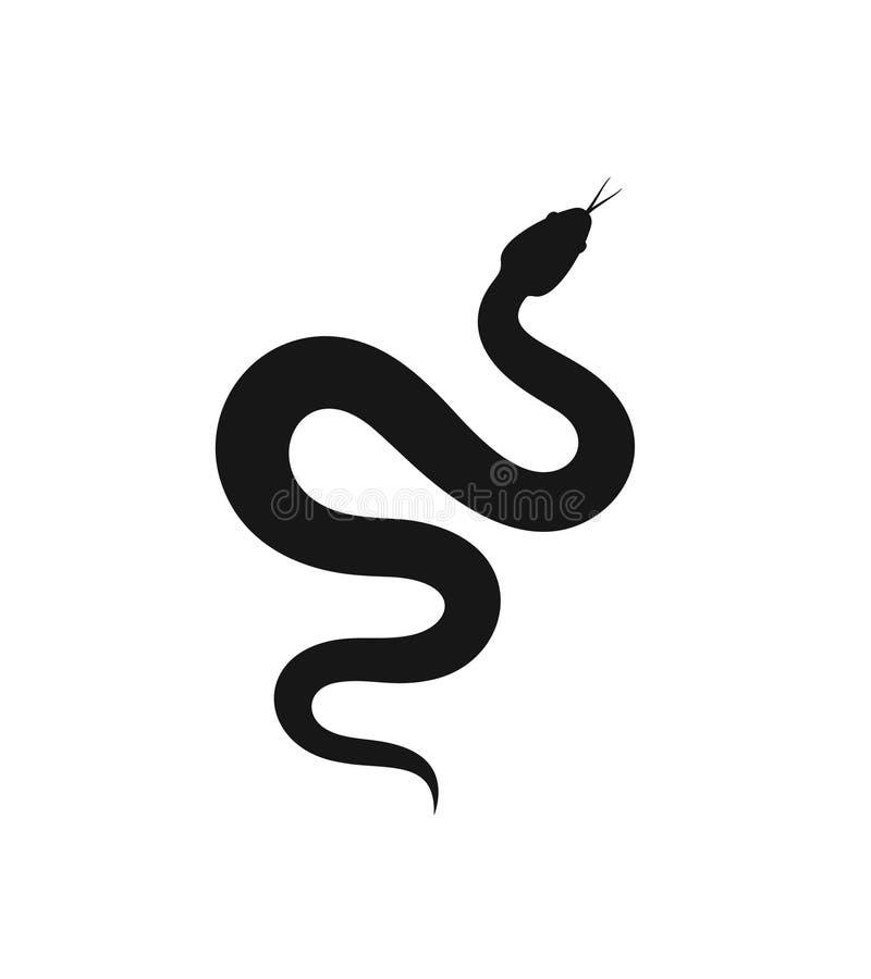 Siluetta del serpente Serpente isolato su fondo bianco illustrazione di stock