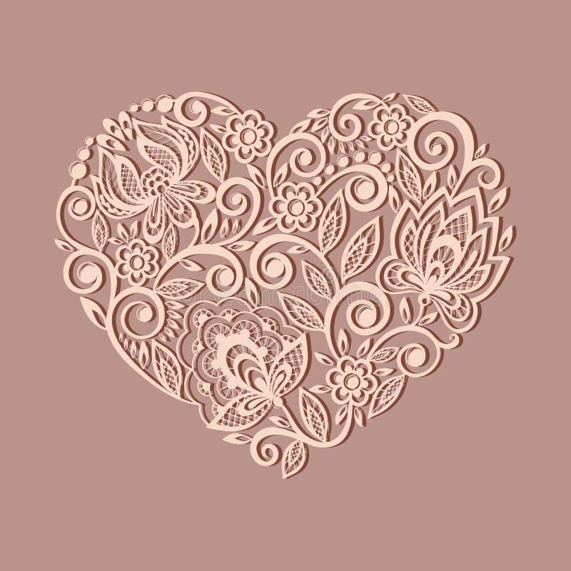 Siluetta del simbolo del cuore decorata con Flor illustrazione di stock