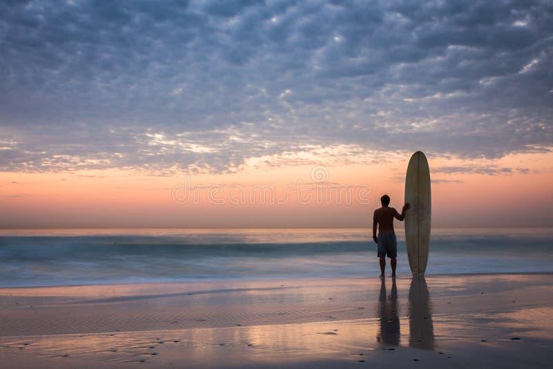 Siluetta del surfista di Longboard al tramonto dorato fotografia stock