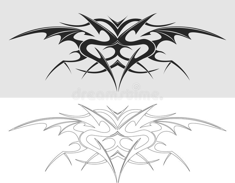 Siluetta del tatuaggio del drago royalty illustrazione gratis