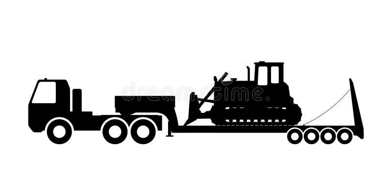 Siluetta del trattore sulla sciabica royalty illustrazione gratis