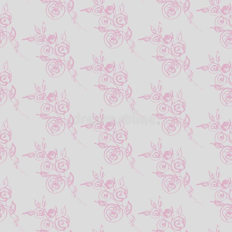 Siluetta delicata delle rose graziose su fondo grigio, modello senza cuciture Reticolo romantico illustrazione vettoriale