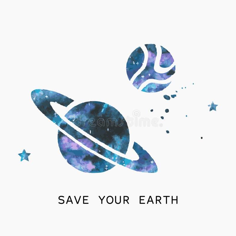 Siluetta dell'acquerello dei pianeti e delle stelle immagine stock libera da diritti