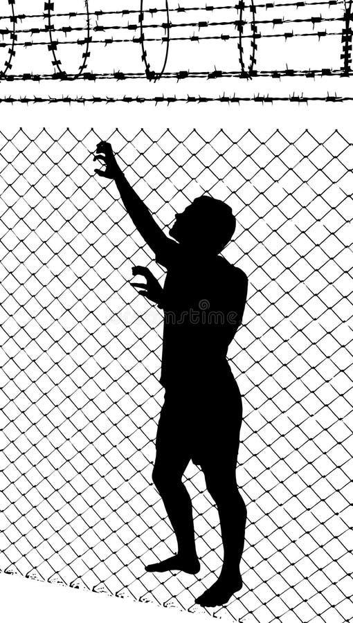 Siluetta dell'adolescente che prova a sfuggire a dalla recinzione metallica royalty illustrazione gratis