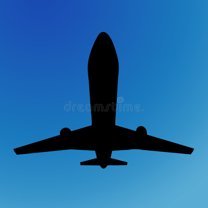 Siluetta dell'aeroplano immagine stock