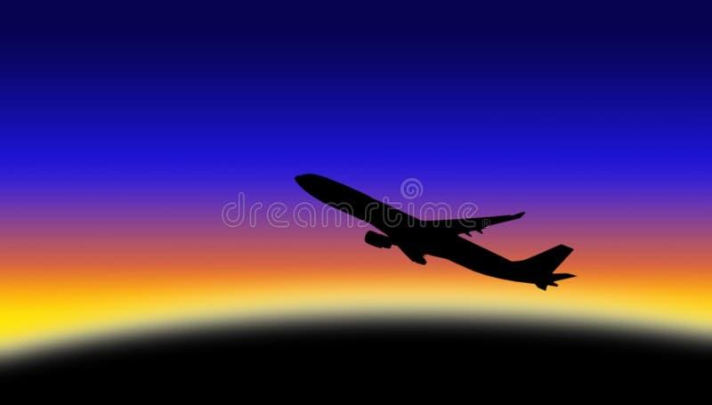 Siluetta dell'aeroplano immagini stock