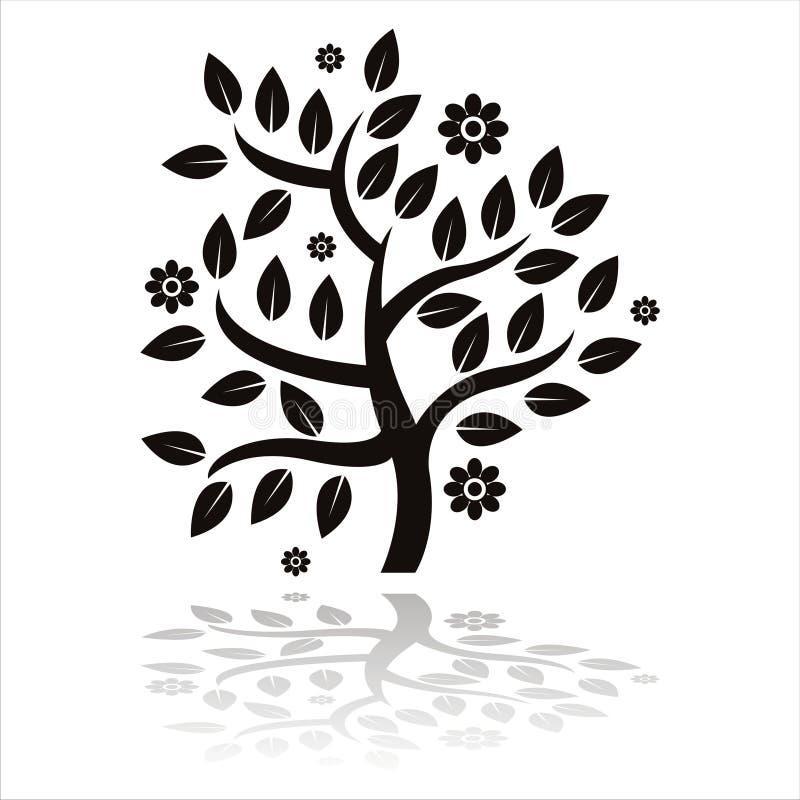 siluetta dell'albero con i fiori illustrazione di stock