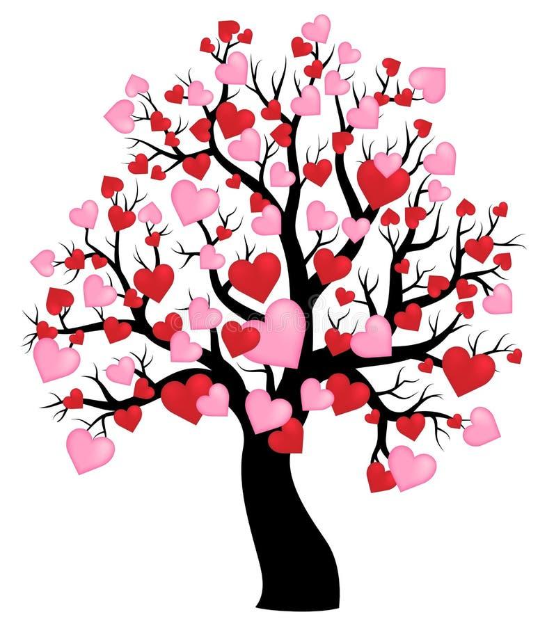 Siluetta dell'albero con il tema 1 dei cuori illustrazione vettoriale