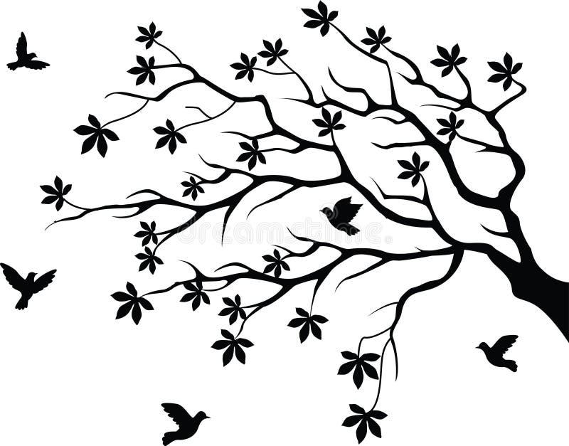 siluetta dell'albero con il volo dell'uccello illustrazione vettoriale