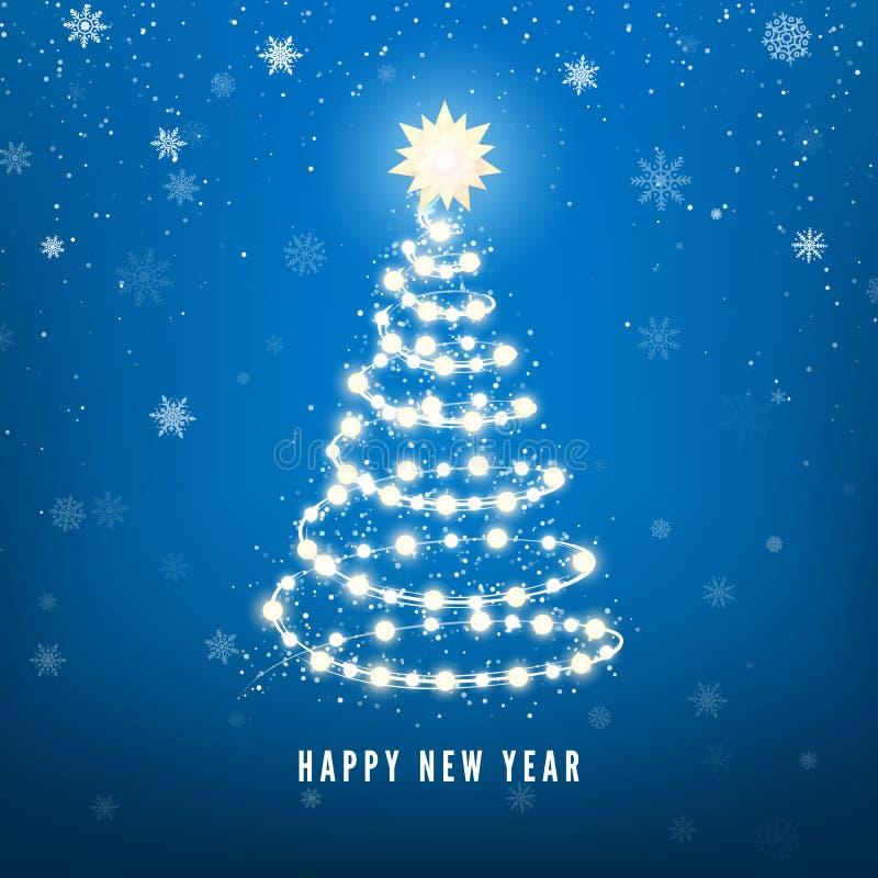 Siluetta dell'albero del nuovo anno fatta delle luci di Natale su fondo blu Fondo magico delle precipitazioni nevose di Chistmas  royalty illustrazione gratis